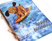 Surf Pup Surfing Dog Happy Birthday Card, Blank Inside 5 x 7