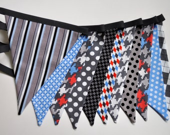 Boys of all ages fabric pennant banner bunting - boys room, birthday party decor, photo prop, grey