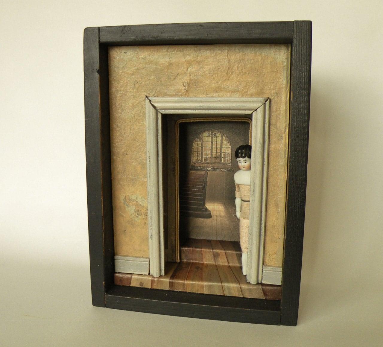 Curiosity Box Antique Doll Shadow Box Cabinet Doorway
