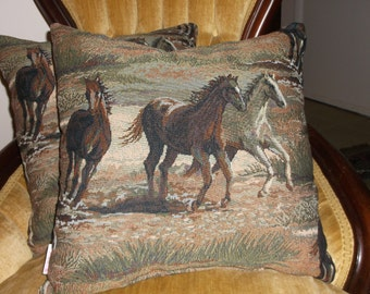 Wild Stallions tapestry Accent Pillows, Tans, Greens, Browns, Creams, Horse Lovers, Western Fabric, Rich Scenery, Unique Pattern Pillows