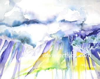 Purple Mountains Majesty, Watercolor on Arches Paper in Purples and Violets by Karen Pratt