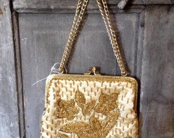 1940s Vintage Gold Beaded Purse