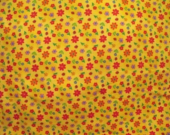 """Brand New Flower and Lady Bug Fabric 100% Cotton 36 """" X 42"""""""