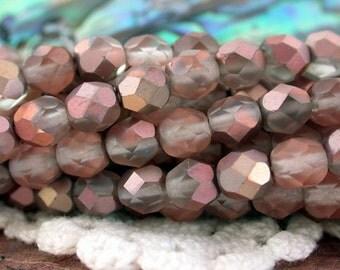 6mm Firepolished, Czech Glass Fire Polished Beads, Matte Apollo Gold Beads, Czech Glass Beads, Faceted Glass Beads  CZ-258