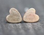 Brass Heart Earrings - Sterling Post