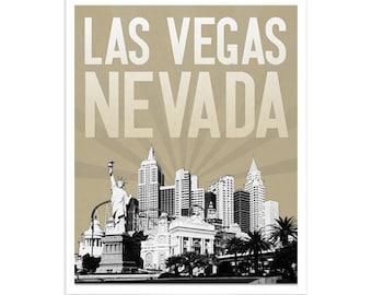 Las Vegas Nevada City Skyline - choose your color - Wall Art Gift Souvenir - Sin City