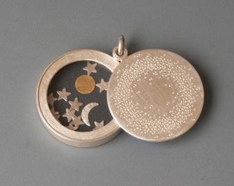 Big Sterling Silver locket Sun Moon and Stars, modern locket, handmade sterling silver locket