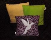 Bird Hummingbird Pillow Applique OOAK Cushion Geek Chic Retro 'Pillowettes' Pink