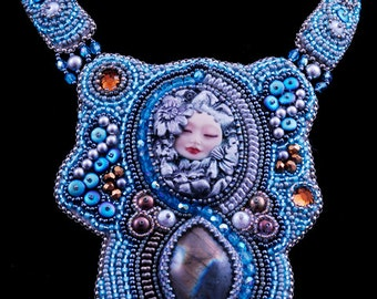 Bead Embroidered Blue, Grey Polymer Clay Face and Labradorite Necklace