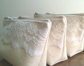 White Lace Wedding Clutches, Clutch Sets, Linen and Lace Bridesmaid Clutch, Clutches Bridesmaids Gift Set of 3