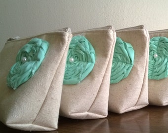 Mint Wedding Clutches, Set of 9 - Get one bag FREE - Bridesmaid Clutch Purse, Linen, Mint Bridesmaids Gift