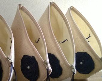 Monogrammed Bridesmaid Clutch Purse, Navy Wedding, Linen, Bridesmaids Gift, Wedding - Set of 10