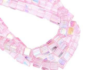 73 Pink Cube Beads - AB Faceted Glass - 4x4mm - 1 Strand - Ships IMMEDIATELY from California - B990