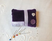PURPLE VELVET PINCUSHION with ribbon and buttons