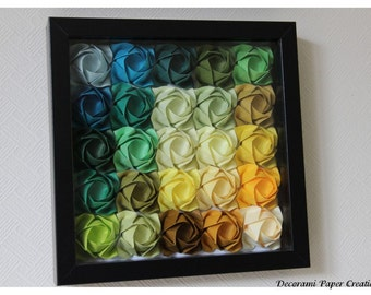 Framed Origami Picture Set - 100 roses - 100 different colors - Wall Decoration