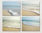 Ocean Photography Set, Beach House Wall Art Collection, Bathroom Decor, Coastal Picture Set, Set of Four Photographs