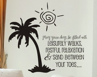 beach house wall decal May Your Days Be Filled With comes with palm tree as shown living room or family room wall decoration
