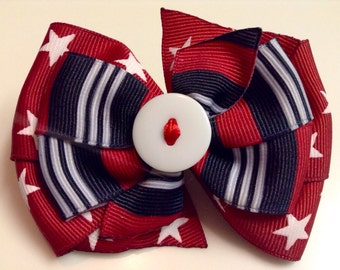 Red White & Blue Patriotic 4th of July Stars and Stripes Memorial Day USA Boutique Style Ribbon Bow Handmade for PETS Dog Collar Accessory