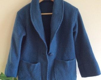 Bright Blue 1960s Women's Wool Coat / jacket - size 8 - 10
