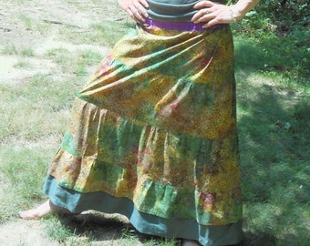 Swirly Vines Handmade Hippie Patchwork Sweeper Skirt OOAK