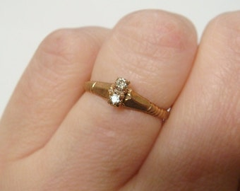 10k Victorian Diamond Sweetheart Ring, Engagement / Promise Ring