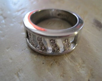 Sterling silver and diamond band ring size 7