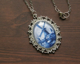 Delftware Pottery Inspired Windmill Cameo Necklace