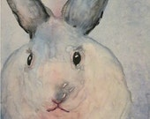 "White Rabbit,  Nursery, Boy, Girl, Baby Room Decor, Original  7 x 5 x 1/8 ""  Watercolor Painting by ebsq Artist  Ricky Martin. FREE SHIPPING"