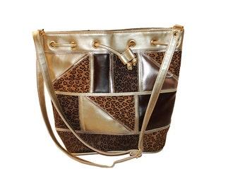 Vintage Bucket Handbag, Patchwork Leopard Print, Gold Faux Leather, Shoulder Bag
