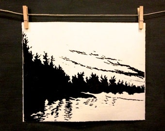 Northern Lake - Hand Printed - Linocut
