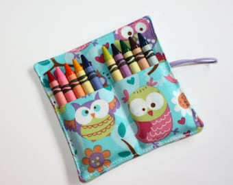Crayon Roll Party Favors, Owls on Turquoise Crayon Rollup, holds up to 10 Crayons, Birthday Party Favors