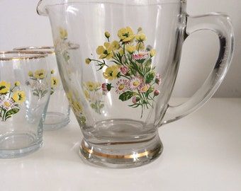 1950's/60's Wildflower Jug and Matching Glasses x3