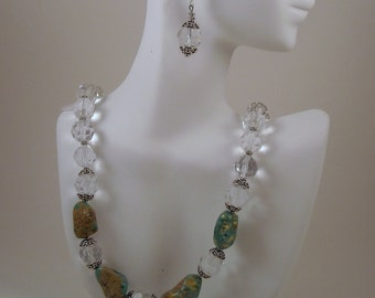 Green Magnesite Nuggets and Crystal Beaded Necklace and Earrings Set