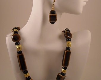 Golden Brown Porcelain Beads with Gold Metal Accents Beaded Necklace and Earring Set