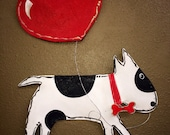Valentines Door Hanger, Screen Valentines Puppy Love Black and White Spotted Dog with Heart Balloon Wreath Door Hanger, dog door hanger