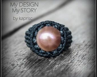Pearl Macrame Ring