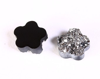 8 Silver black flower resin cabochon 12mm 8pc - Faux druzy cabochon - Faux drusy cabochon - Textured cabochons (1213) - Flat rate shipping