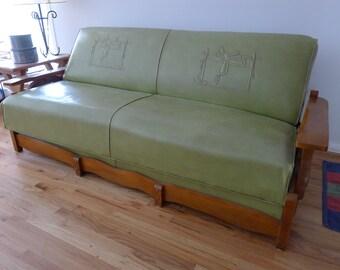 Vintage Couch Bilt Rite Western Furniture Cowboy Horse Saddle Stitching Solid Wood Wagon Wheel Austin Texas Naugahyde Sofa Economy Furn Co