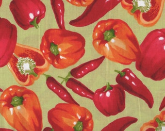 Chili Peppers, Fresh Picked by Moda, Vegetable Fabric, Garden Fabric, Red Pepper Fabric, 05002