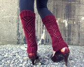 Leg Warmers Knit Leg Warmers Burgundy Red Leg Warmers Teen Leg Warmers Womens Leg Warmers