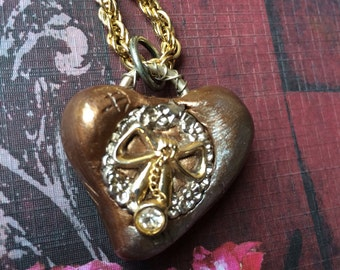 Steampunk Bow Heart Pendant Necklace - Bronze and Silver with dangling Rhinestone