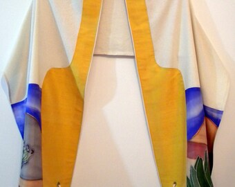 Pettite Tallit  (Sunny Israel 17167) 66.87 in x 15.75 in (169.5cm x 40cm) Raw silk and hand painted Habotai silk