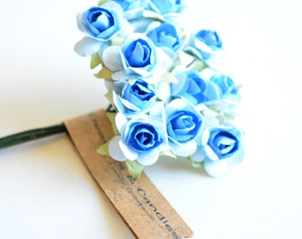 3 flowers Branchs 36 Royal Blue with Baby Blue Paper Flowers