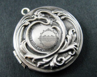 5pcs 33mm flower engraved round vintage brass antiqued silver photo locket pendant charm DIY supplies findings 1113009