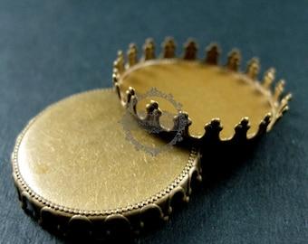 10pcs 25mm setting size vintage style bronze crown round bezel base DIY supplies 1411069