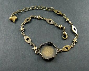 5pcs 15mm setting bezel vintage style bronze stars 15cm length bracelet with 5cm extension chain DIY supplies 1900054
