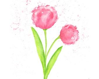 Watercolor painting, watercolor flower, watercolor tulip painting, flower painting, flower print, flower art, Springtime print, flower decor