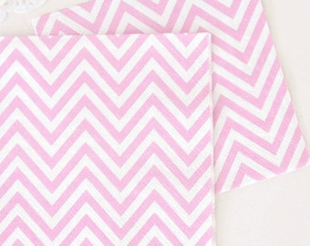 """Paper Napkins 6.5""""  Chevron  set of 20 Pink Compostable Sustainable Eco Friendly Birthday Party Wedding Bridal Shower Baby Shower"""
