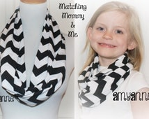 Mommy & Me Ready to Ship Save on 2 Matching Mom and Daughter Black Chevron Infinity Scarf Scarves Amy Anne