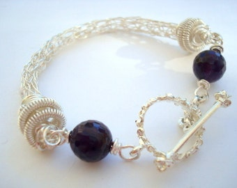 Silver and Amethyst Bracelet -Purple Storm- Viking Knit Silver with Amethyst